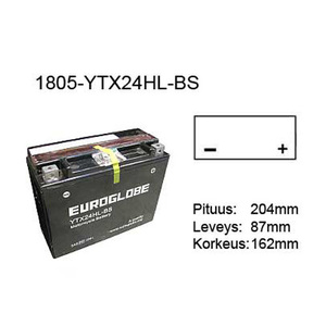 "90-0079 | Euroglobe MP-akku 12V 21Ah ""YTX24HL-BS"" (P204xL87xK162mm)"