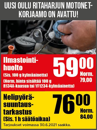 Motonet-korjaamon Oulu Ritaharjun avajaiskampanja